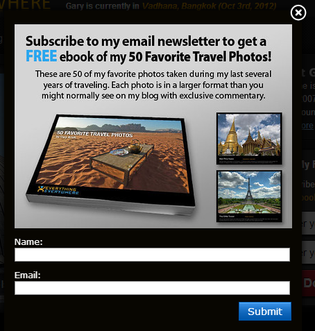 example of a travel newsletter signup form